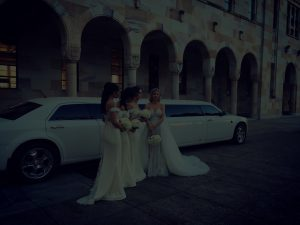wedding with chrysler in background
